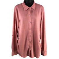 Eden & olivia Maternity Mauve Stretchy Long Sleeve Button Down Shirt Women's XL