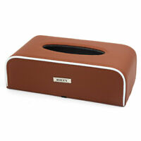 Brown PU Leather Rectangular Tissue Box Holder Cover Case Tray for Home Car
