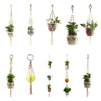 1Pot Holder Macrame Plant Hanger Hanging Planter Basket Jute Braided Rope CrIHS