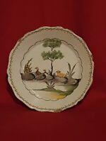 Nevers, XVIII ème s, assiette à décor de chien et canards