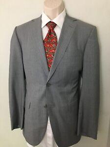 "NWT Zegna ""City"" Silk Wool Sport Coat Blazer Gray Striped EU 48C/EU/38S-US"