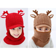 Kids Grls Cute Winter Warm Fleece Knitted Balaclava Face Cover Mask Hat Scarf