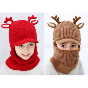 Kids Grls Cute Winter Warm Fleece Knitted Balaclava Face Cover Mask Hat Scarf