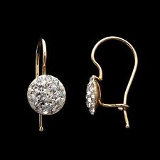 0.50CT Round Cluster Pave Kids Earrings 14K Solid Yellow Gold Child-Safe Locks