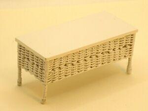 Uncle Ciggies White Wicker Coffee Table Patio Porch Artisan Dollhouse Miniature