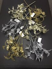 12 Holly Bunches Artificial Fake Plastic Christmas Foliage Gold Clearance Joblot