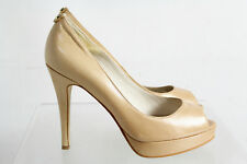 Michael Kors Beige Leather Open Toe High Heel Slip On Platform Pumps Shoes SZ 8M
