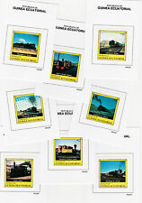Equatorial Guinea (146) 1977 RAILWAY LOCOMOTIVES set of 8 Prppf cards