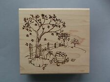 CREATIVE IMAGES RUBBER STAMPS CISTAMPS FALL SCENE NEW wood STAMP