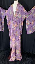 Original Vintage Large Kimono Silk Purple And Flowers Japanese Robe