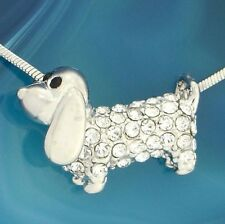"""Dog Necklace Made With AB W Swarovski Crystal Puppy Pet 18"""" Chain Pendant"""
