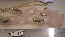 "36"" Rose Quartz pink Plastic Links Clear Rhinestone Jewelry Necklace Gold Plated"