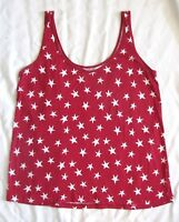 Old Navy Vintage Wash RED & WHITE Star 4th July Tank Top T-shirt Patriotic USA L