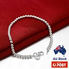 925 Sterling Silver Layered 4mm Balls Chain Bracelet Bangle
