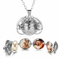 4 Photo Memory Floating Locket Pendant Necklace Women Angel Wing Album Box Gift