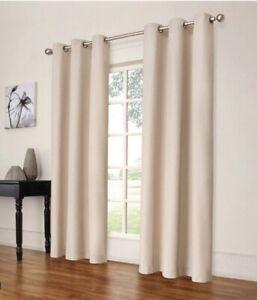 "Set Of 2 | Eclipse Windsor Light Blocking Curtain Panels - Cream 42""x84"" NEW"
