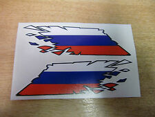 """Russian Flag """"ripped"""" style stickers - 300mm decals x2 LARGE"""