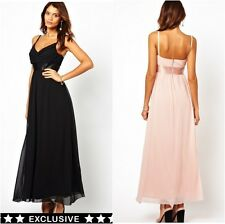 Elise Ryan  Cami Maxi Dress with Satin Waist  Prom Party  Black UK 8