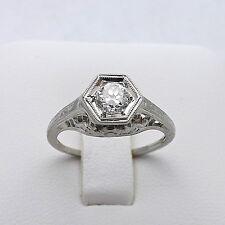 Art Deco 18K White Gold Lang 1/3 ctw  VVS/F  Diamond Engagement Ring  Sz 5.5