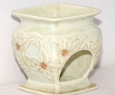 Yankee Candle Ceramic Light Green Flowers Votive holder Burner EUC