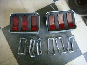 ORIGINAL 1967 - 1968 FORD MUSTANG TAIL LIGHT ASSEMBLIES W/ LENSES & MOLDINGS