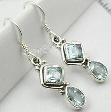 "925 PURE Silver Amazing BLUE TOPAZ 2 Gem EXTRA ORDINARY Earrings 1.4"" RICHFEEL"