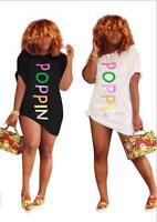 Woman T-Shirt dress POPPIN Letter Printed Short Sleeve Casual dress S-3XL