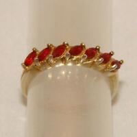 Ring  Silber vergoldet  Gr 56 Silber  Sterlingsilber  925 mit roten Steinen