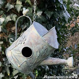 Metal verdigris effect Watering Can bird house nest box ornament bird lover gift