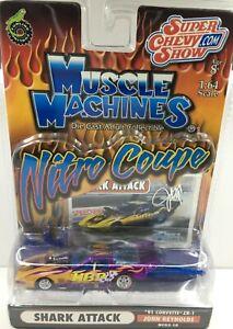 Muscle Machines Nitro Coupe* 91 Chevy Corvette*SHARK ATTACK* PURPLE* 1:64