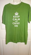 Keep Calm And Chive On Men's  Chive Tees Green Short Sleeve T Shirt SIZE X LARGE