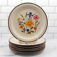 "Kanney Spring Flower Stoneware Set of 6 Salad Plate Diameter 7 7/8"" (20cm) Japan"