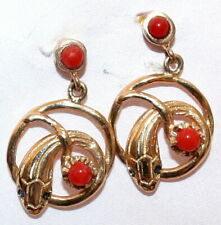 Sapphire Fine Snake Dangle Stud Earrings Antique Beautiful 14ct Gold Red Coral