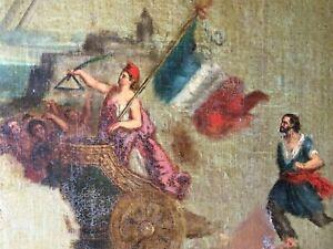 Rare Tableau Historique Original XIXe Huile Allégorie de la République de 1848