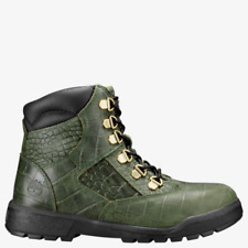 """Timberland Junior's 6"""" Crocodylian Leather Field Boots NEW AUTHENTIC Green A1QAU"""