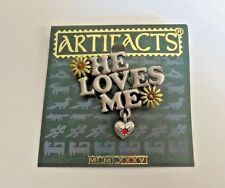 Jonette Jewelry He Loves Me Pin Brooch Pewter Enamel Crystal Signed Vintage NOS
