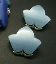 Vintage CORO THERMOSET LUCITE Two-Tone Blue Ivy Leaf Leaves CLIP ON EARRINGS