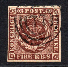 Denmark 4Rs Red Brown Stamp c1851 Fine Used