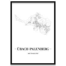JUNIWORDS Stadtposter, Übach-Palenberg, Weiß, Kunstdruck Plan Map
