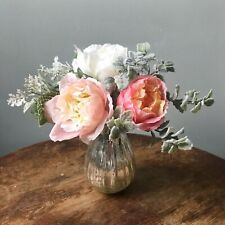 Small Tied Pink White & Coral Rose Bouquet, Artificial Faux Mini Silk Flowers