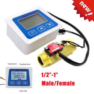 """1/2""""-1""""Digital LED Turbine Gauge Diesel Kerosene Fuel Water Flow Meter Flowmeter"""