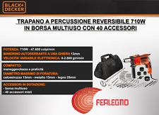TRAPANO A PERCUSSIONE REVERSIBILE 710W CON BORSA+ACCESSORI ART33745 BLACK&DECKER