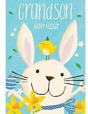 Bunny and Chick Grandson Happy Easter Card – Floral Illustrated Artwork