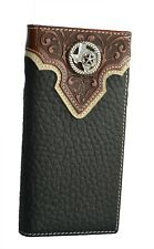 Western Cowboy Genuine Leather Wallet Long Bifold Wallet for Men Texas State Map