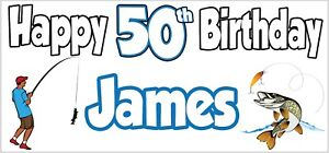 Fishing Pike Fish 50th Birthday Banner X2 Decorations Mens Son Dad PERSONALISED