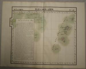 TONGA ISLANDS 1827 VANDERMAELEN LARGE ANTIQUE ORIGINAL LITHOGRAPHIC MAP N° 47