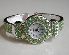 Silver finish Green Rhinestones bangle cuff fashion women's dressy party watch