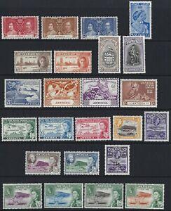 ANTIGUA 1937/65 KG6/QEII Commemorative Range (24) MLH/MNH