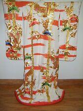 Vintage Japanese Uchikake Wedding Kimono w/ Gold Couching & Sagara Embroidery