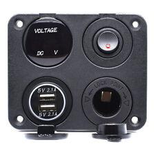 4 Way Car Cigarette Lighter Socket Dual USB Port Charger Voltmeter Panel 12V UK